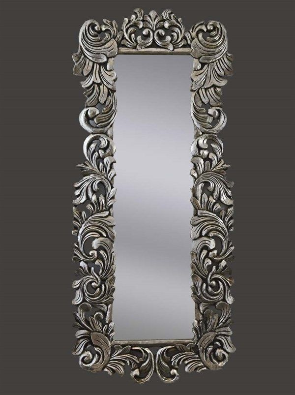 Splendido specchio argento 160x70 cm baroque mirror provencal specchi stile barocco - Specchio cornice nera barocca ...