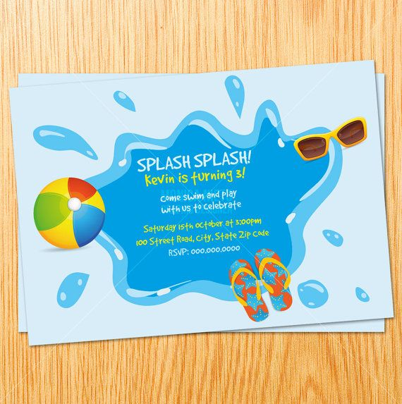 Custom Printable Swimming Pool Party Birthday Invitation Birthday Invitations Pinterest