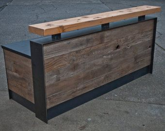 This Is A Reclaimed Reception Desk That Features Doug Fir Beam Piece At The Standing Height Element And Barn Wood Facade Metal Wraps