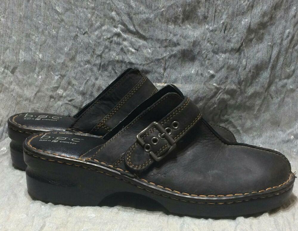 79cf906af7ad BOC Born Concepts Sz 10 US 42 EUR Matte Black Leather Clogs Mules ...