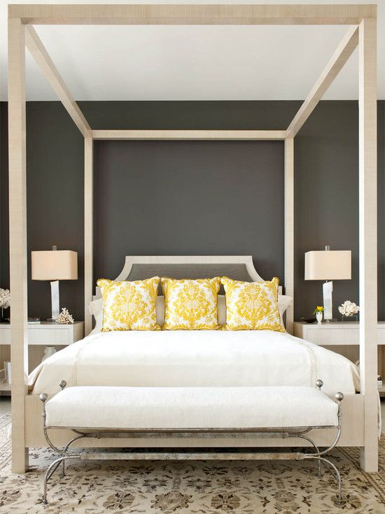Bedroom Grey Design Love the yellow pillows for contrast in this neutral bedroom.. Catherine Dolen Designer