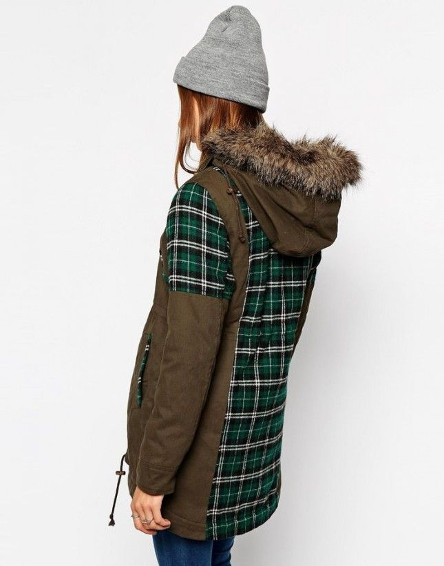This khaki and plaid parka is perfect for winter.
