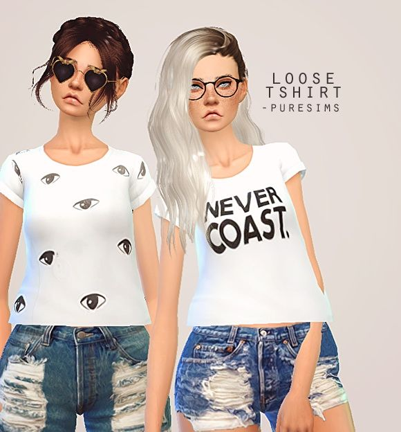 Pure Sims Loose T Shirt Sims 4 Downloads Sims 4 Cc Sims Sims