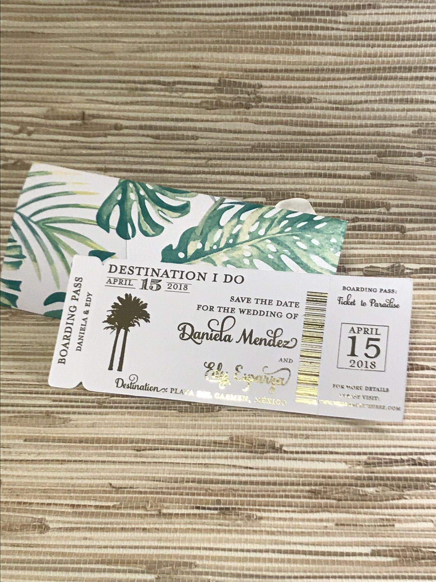 Gold Foil Boarding Pass Save the Date in 2020