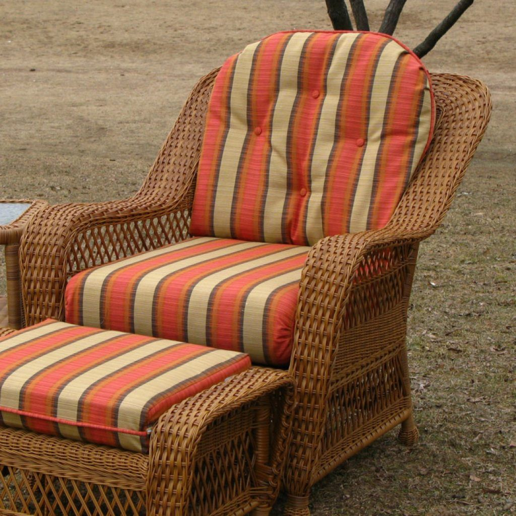 Awesome Orange Striped Patterned Fabric Cushion Sets Combined Wicker Outdoor Outdoor Wicker Furniture Cushions Wicker Furniture Cushions Wicker Chair Cushions