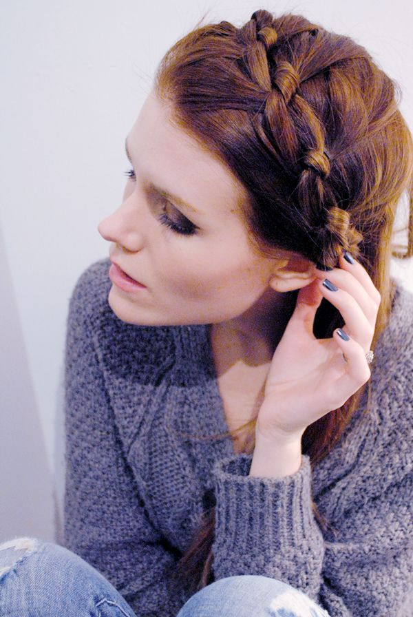 Knotted Milkmaid Braid: Take two equal sections of hair and tie in a knot. Carefully add more hair to either section and repeat the knot. Continue around the crown section of the head. secure with a couple bobby pins and... bam. Done!