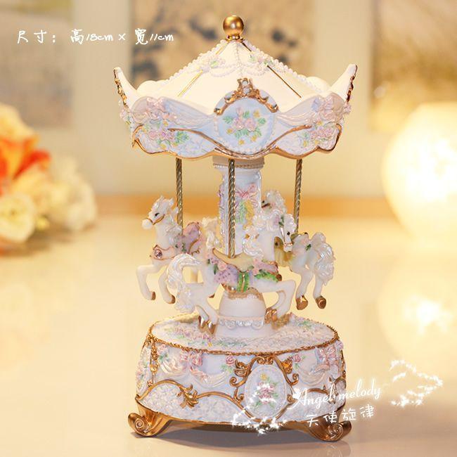 浪漫旋轉木馬音樂盒 八音盒 天空之城 白羊座生日禮物 創意 女生-淘寶台灣,萬能的淘寶