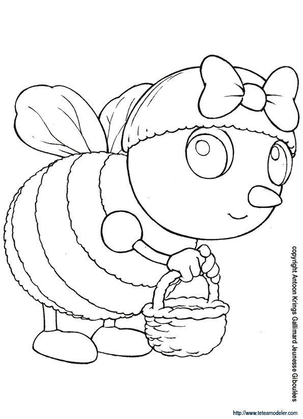 Coloriage de mireille l 39 abeille et son petit panier abeilles animales para pintar - Coloriage drole a imprimer ...