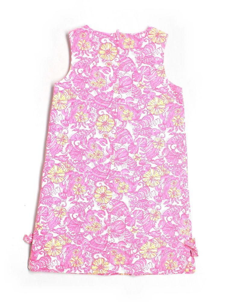 6dacb05d936 Girl Lilly Pulitzer Pink Yellow Shells Shell Crab Flower Chum Bucket Shift  Dress Sz 10 #LillyPulitzer #Everyday