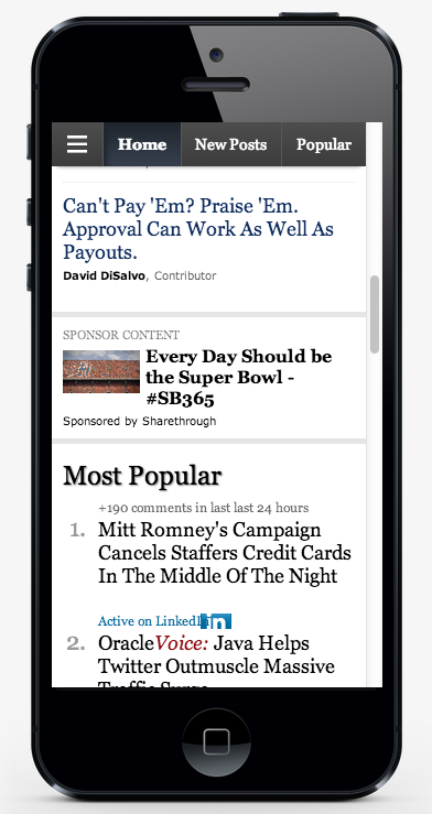 Native Advertising in the feed of mobile sites