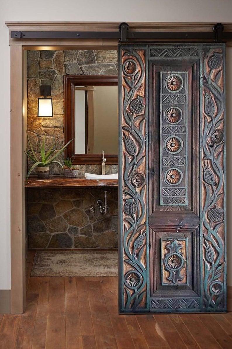 Rustic Barn Wood Door Carved Antique Craftsman Entrance Fron…
