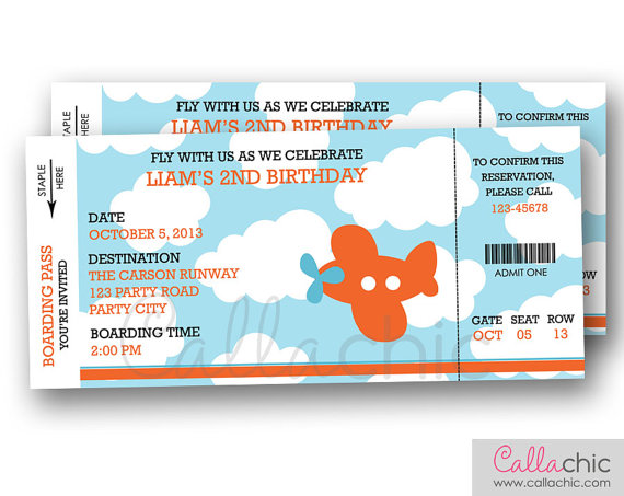 Airplane Boarding Pass Ticket Invitation PRINTABLE by CallaChic