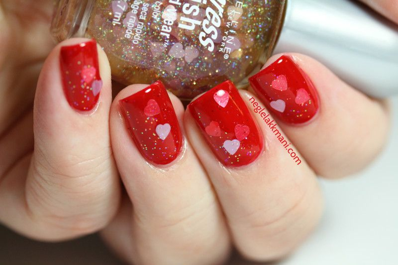 OPI red-y For The Cure Maybelline hearts