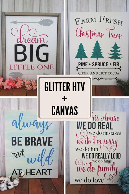 glitter htv + canvas wall art sign heat transfer vinyl | wood signs