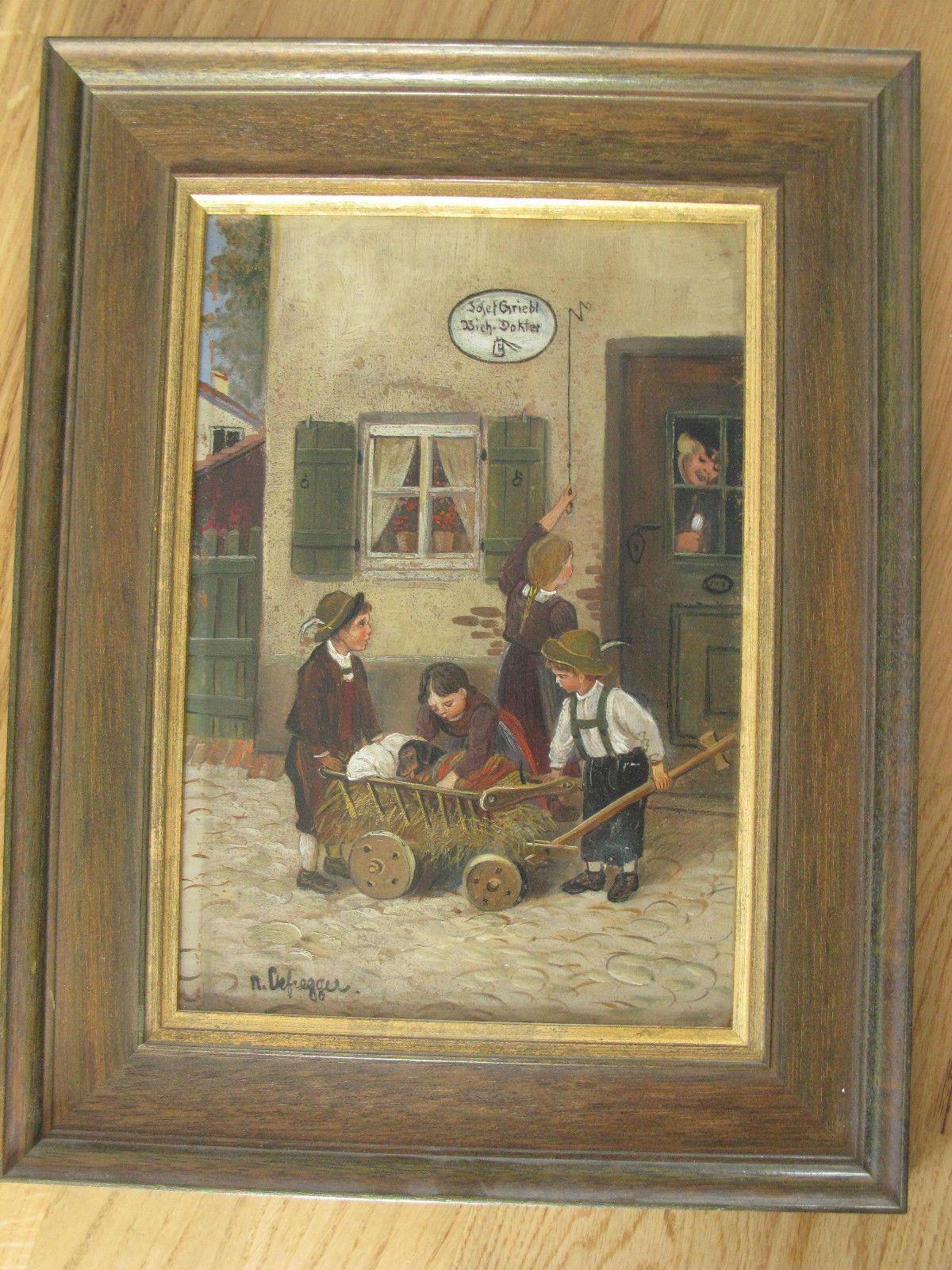 Bild, 4 Kinder mit Hund, nach Defregger gemalt, altes Bild ...