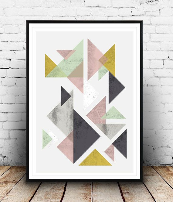 geometric poster triangles abstract watercolor abstract minimalist art scandinavian print. Black Bedroom Furniture Sets. Home Design Ideas