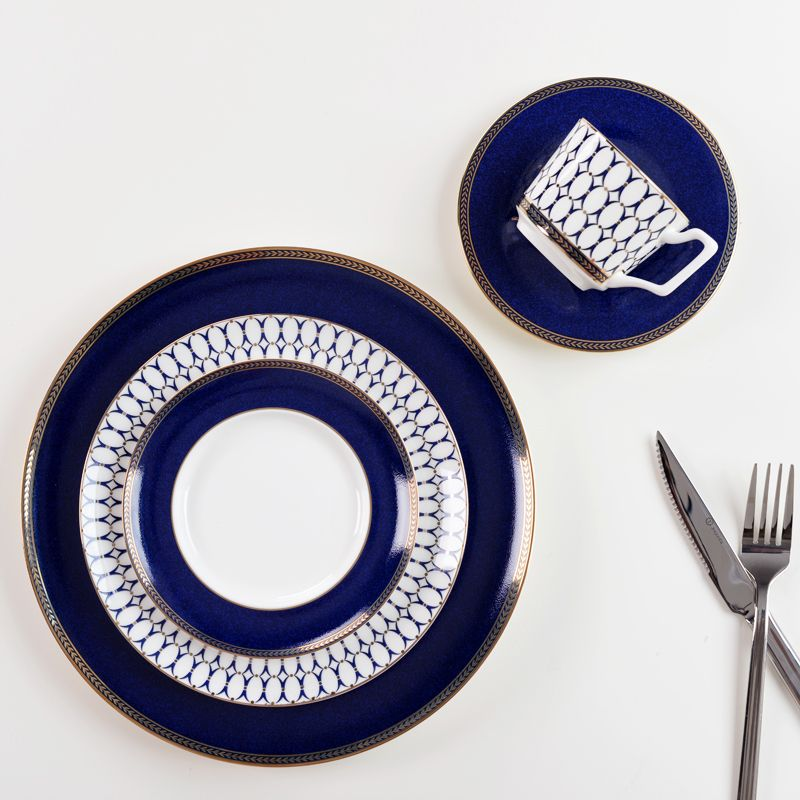 Luxury Elegant European China Ceramic Flat Dishes Plates Gold Geometry Blue Pattern Porcelain Tableware Salad Sushi & Luxury Elegant European China Ceramic Flat Dishes Plates Gold ...