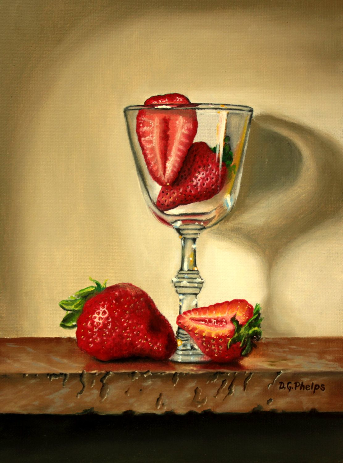 strawberries in wind glass,artwork for sale,kitchen wall art decor ...