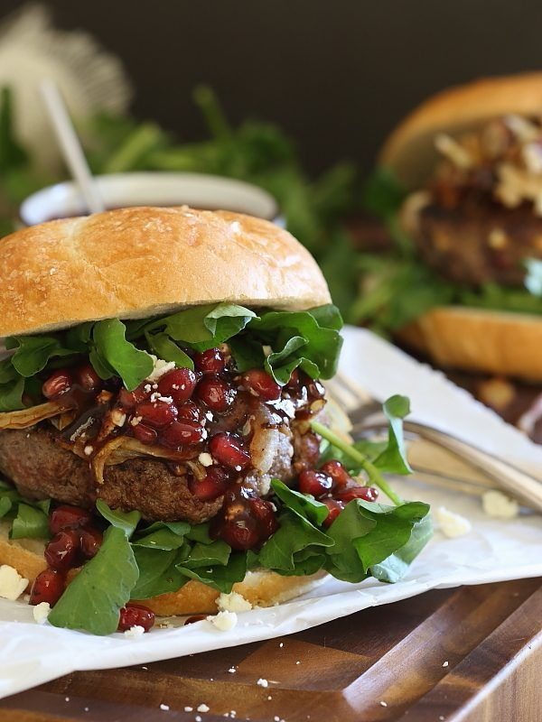 Bison Burgers with Pomegranate and Feta