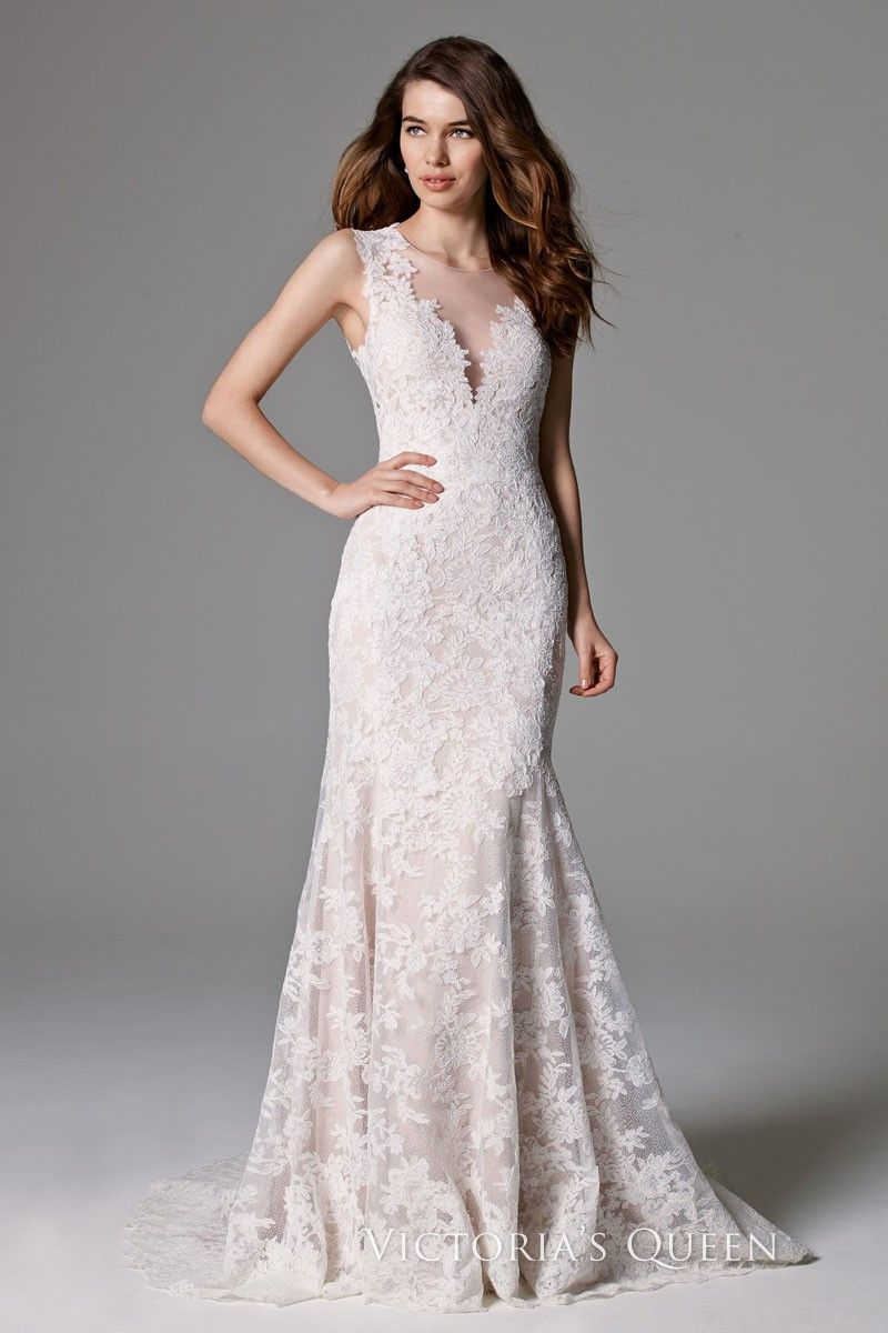 Sleeveless light champagne mermaid lace vneck wedding gown with