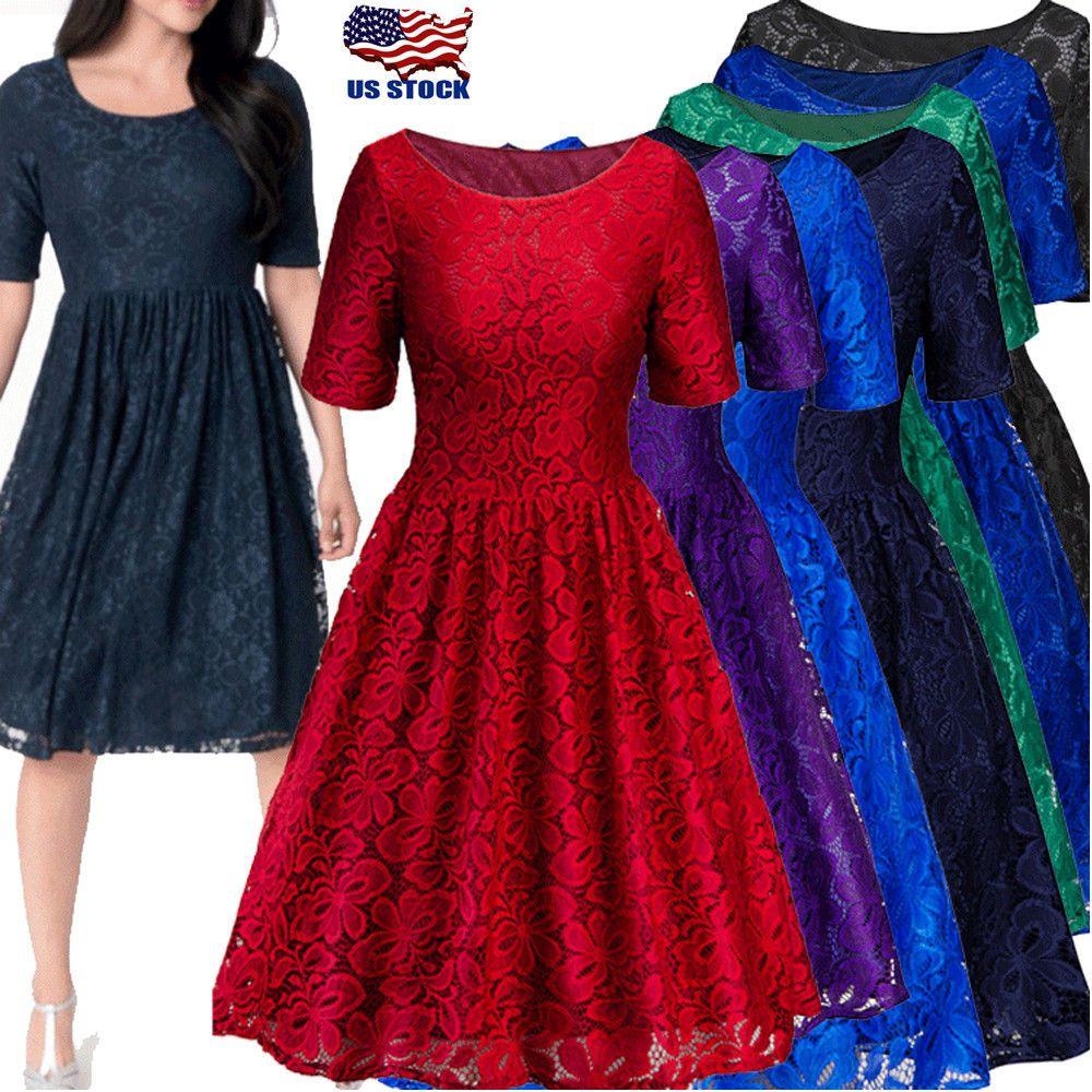 6d7fc1c63d4 Women s Ladies 50s Style Vintage Lace Retro Rockabilly Evening Party Swing  Dress  fashion  clothing