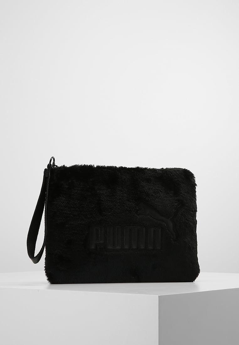 8bb8ff2ff879 PUMA FURRY FAUX FUR CLUTCH BAG SCALLOP SHELL BLACK