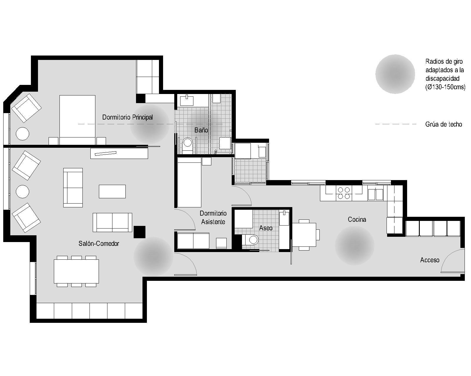 diseno de baño para discapacitados:vivienda parkinson arquitectura ... - Aseo Adaptado A Minusvalidos Medidas
