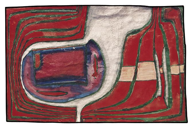 Paintings - Hundertwasser German Silver Dog Versus Red - Survivor of Laszlo VIII 1962 This painting was part of a watercolour from 1959 cut into pieces for La lune en rodage (see 577), mounted on primed wrapping paper and painted over; painted over again in 1962.