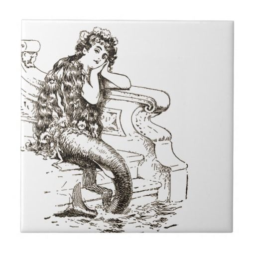 Vintage Black White Mermaid Drawing Tiles