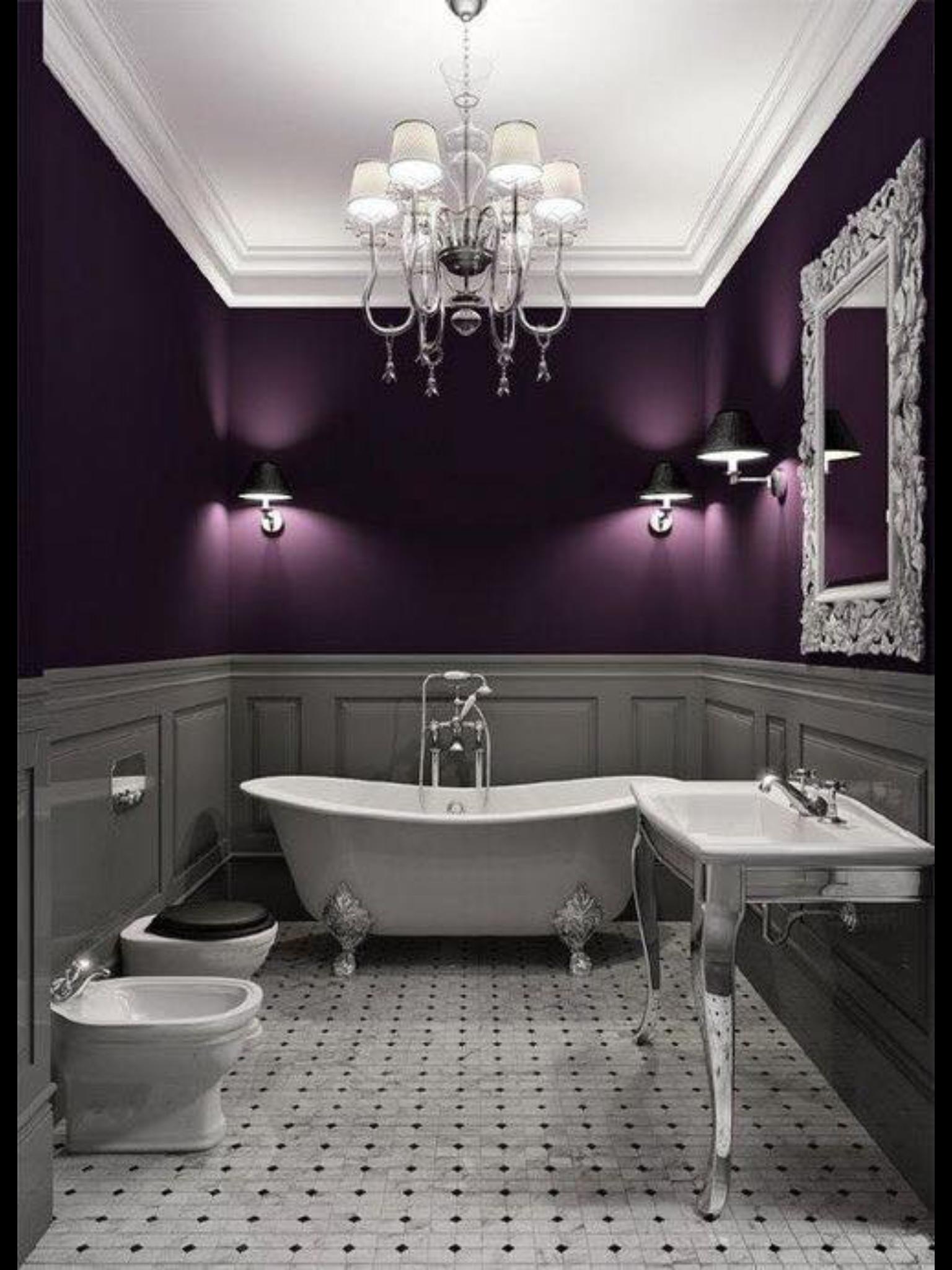 Purple And Gray Bathroom