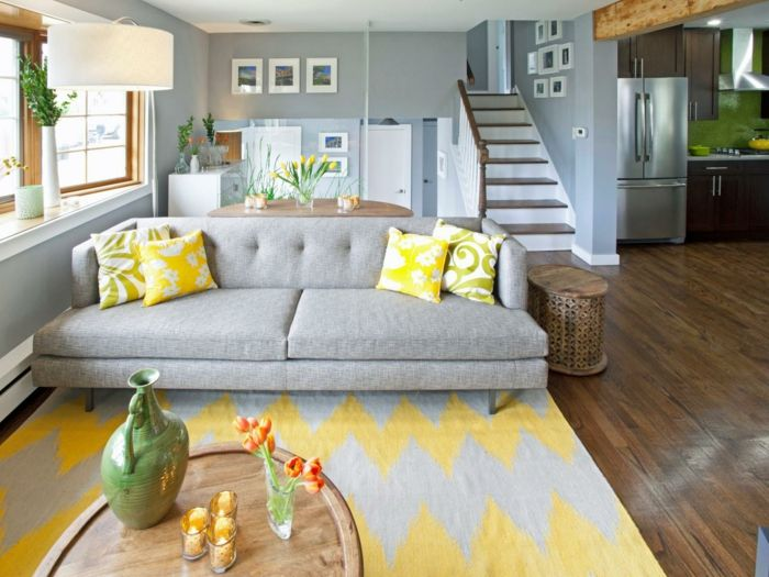 Wohnideen Wohnzimmer Graue Wandfarbe Und Gelbe Akzente