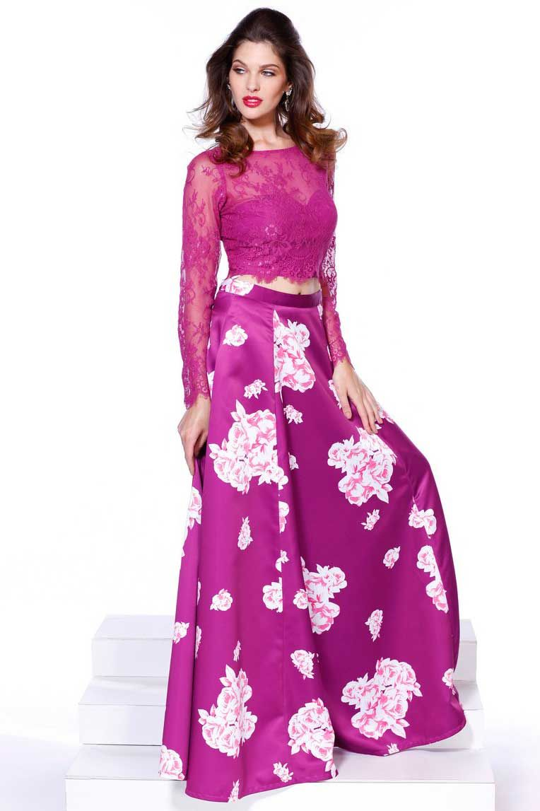 Magenta Long Prom Dress with Illusion Bodice. Full Length A-Line ...