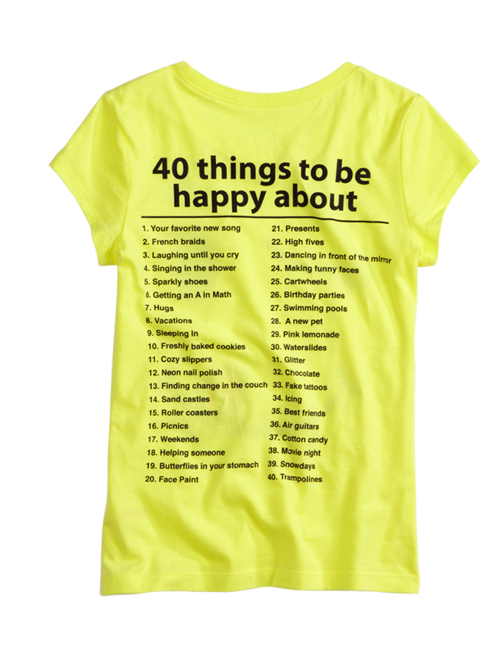 75df639d9a8 40 things to be happy about - graphic tee from Justice. #kids ...