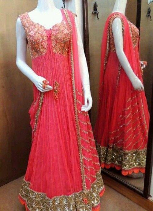 Dark Peach Color Floor Length Anarkali Salwar Kameez With Images