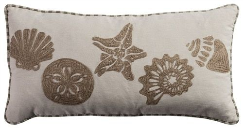 Seashore Embroidered Shell Pillow. Light BeigeLumbar PillowDecorative Throw  ...