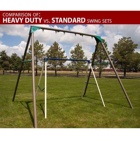 290038 Heavy-Duty A-Frame Metal Swing Set (Earthtone Colors ...