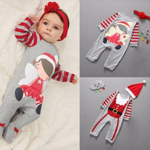 2pcs xmas boy girls infant baby romper jumpsuit bodysuit - Trajes de navidad para bebes ...