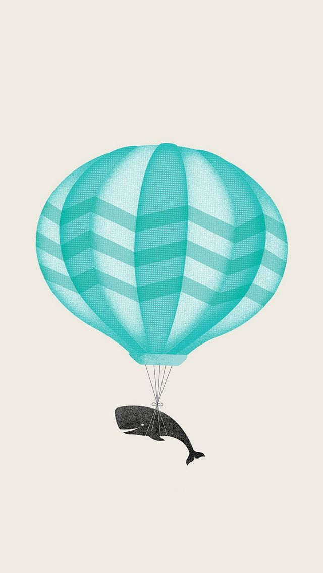 Cute Illustration Whale Balloon Art IPhone 5s Wallpaper