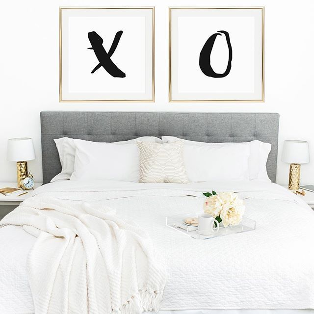 The perfect way to decorate above your bed 39 x and o - Over the bed art ...