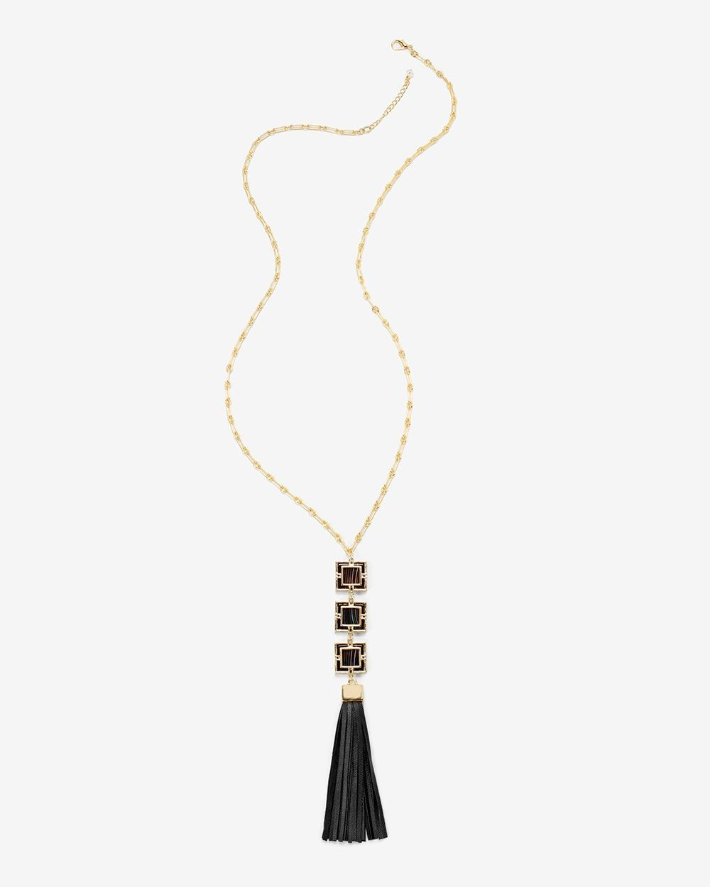 Leather-Tassel Pendant Necklace