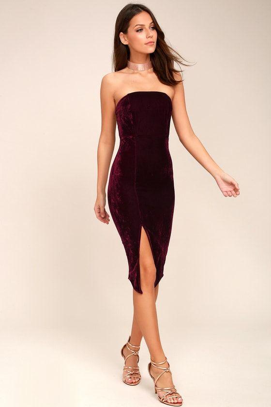 78f4b39cd739 Lulus   Hey Baby Burgundy Velvet Strapless Bodycon Midi Dress   Size ...