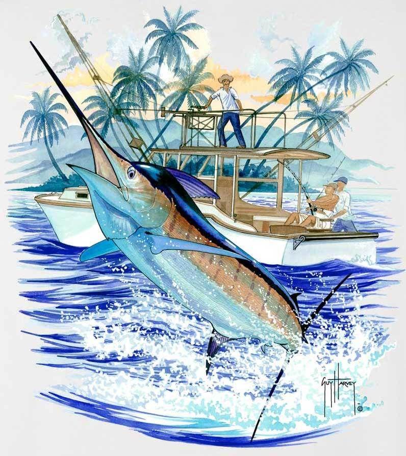 Guy Harvey Marlin Boat 2 Men S Back Print Tee W Pocket In Ocean Blue Cardinal Navy Stonewashed Green Or White Guy Harvey Art Guy Harvey Blue Ocean