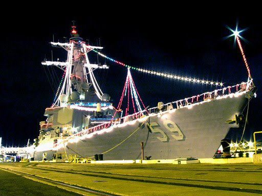 NAVY CHRISTMAS-- miss seeing all the ships decorated for Christmas ...