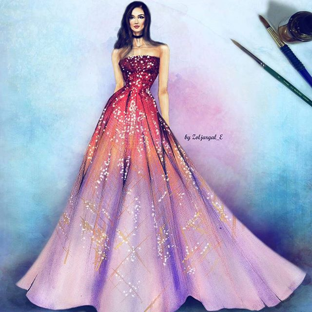 Beautiful dress colored sketches