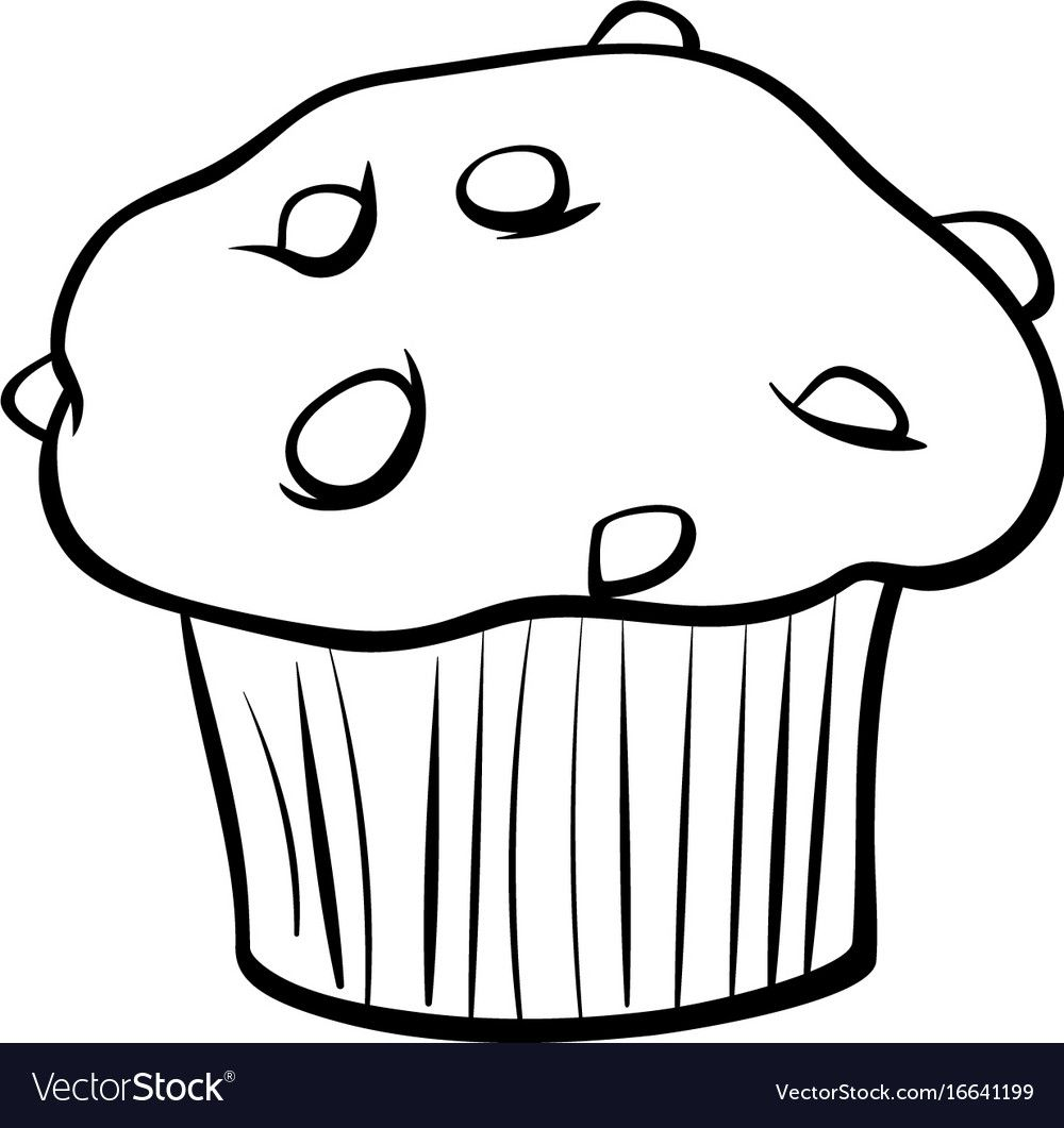 Muffin With Chocolate Coloring Book Vector Image On Cake