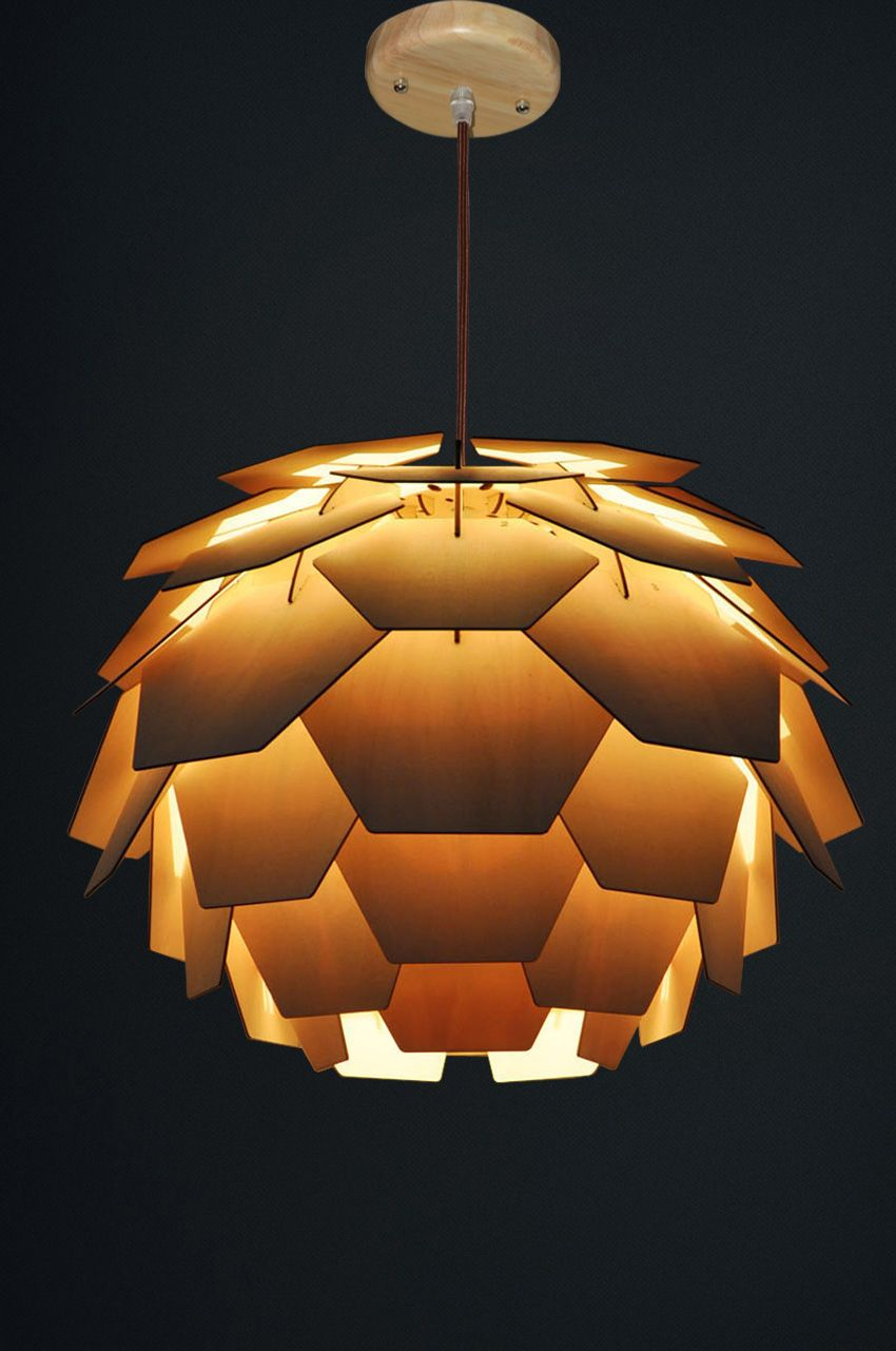 Round Pine Cone Hanging Lamp Wood Lamp Design Lamp Wooden