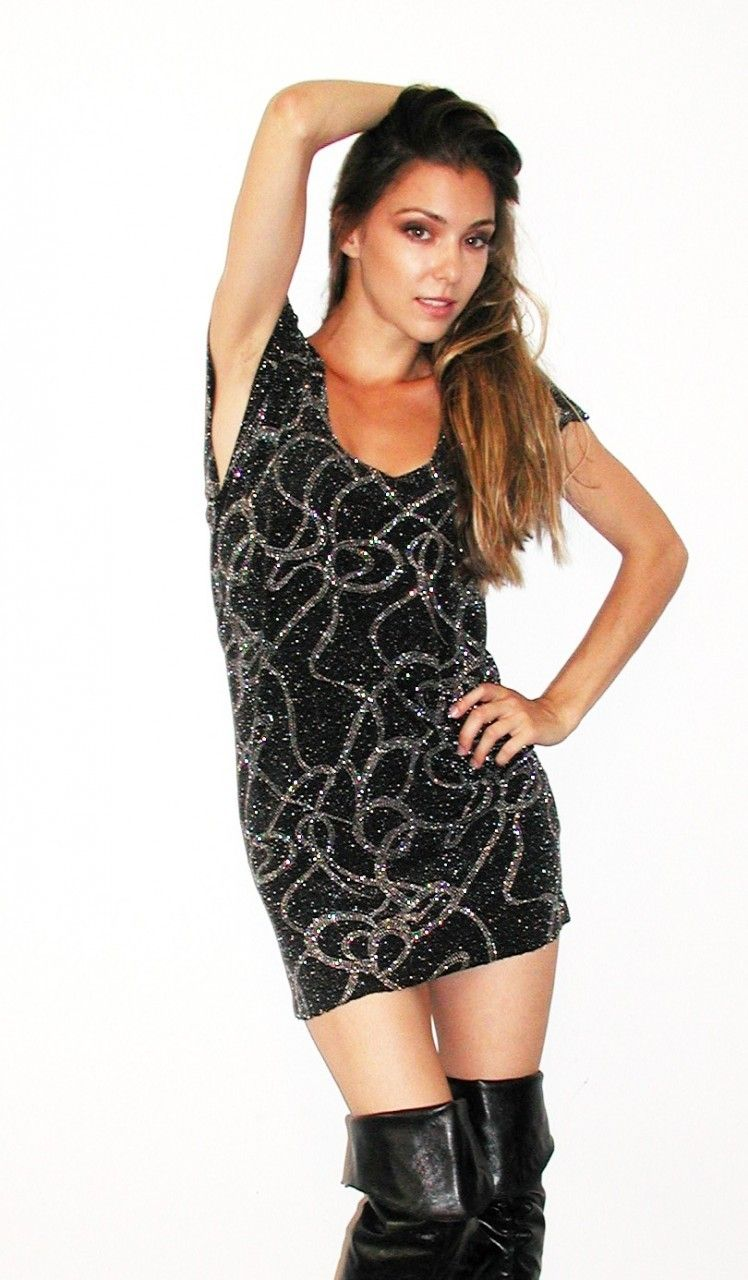 Black silver sparkle sequin dress kamishade