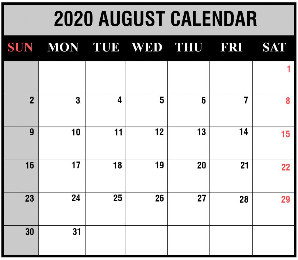 Blank Calendar August 2020 Printable.August 2020 Printable Calendar 2020 Monthly Calendar