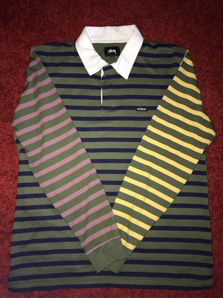7ce415b11f Stussy Jonah Stripe Long Sleeve Rugby Polo Shirt Mens Large Multicolor  #fashion #clothing #