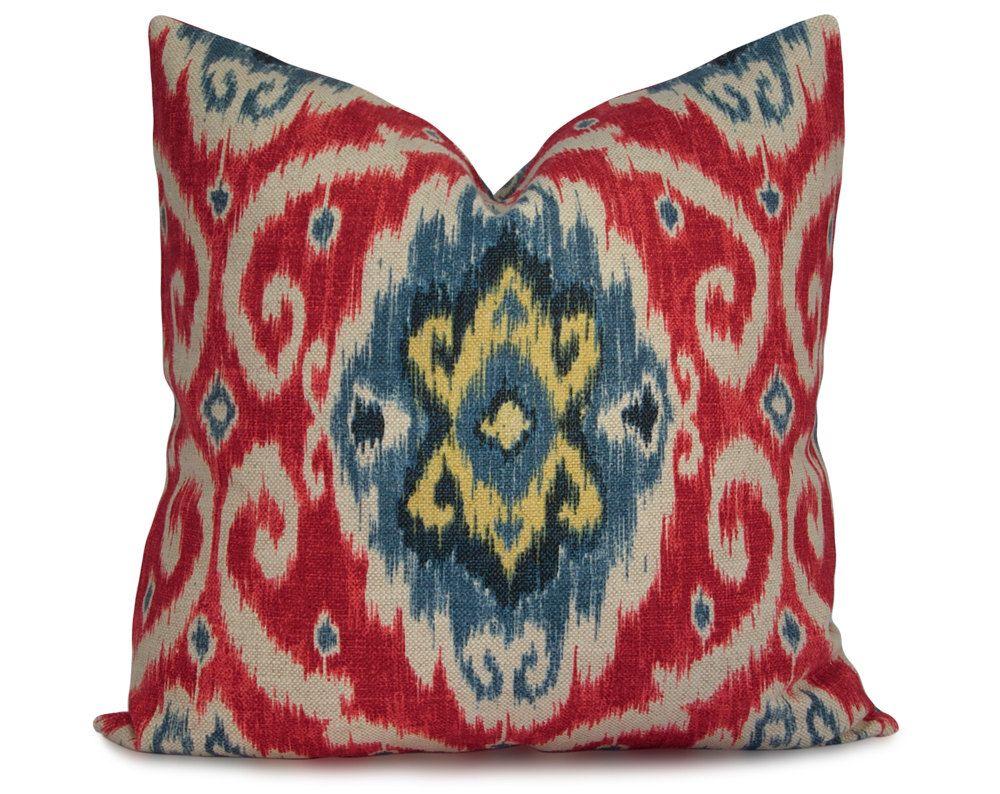 Navy blue and yellow decorative pillows - Iman Ikat Pillow Cover In Red Blue Navy And Yellow Decorative Pillow